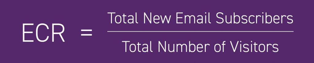 ECR = Total new email subscribers / Total number of visitors